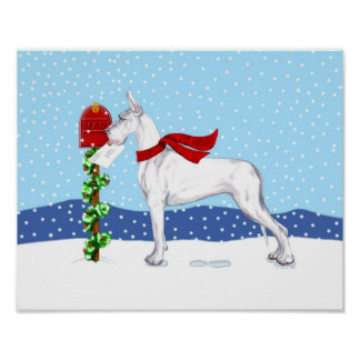 Great Dane Christmas Mail White Poster