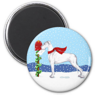 Great Dane Christmas Mail White UC 2 Inch Round Magnet
