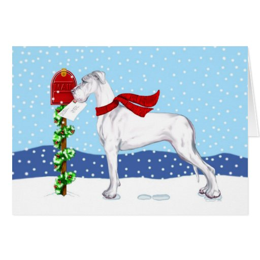 Great Dane Christmas Mail White UC Card