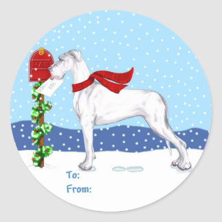Great Dane Christmas Mail White UC Gift Tags