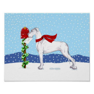 Great Dane Christmas Mail White UC Poster