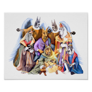 Great Dane Christmas Nativity Poster