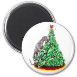 Great Dane Christmas Reach Goals Black UC Fridge Magnets