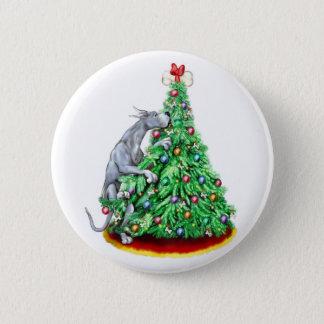 Great Dane Christmas Reach Goals Blue Pinback Button