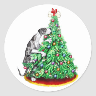 Great Dane Christmas Reach Goals Merle UC Classic Round Sticker