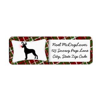 Great Dane Christmas Return Address Label