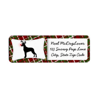 Great Dane Christmas Return Address Labels