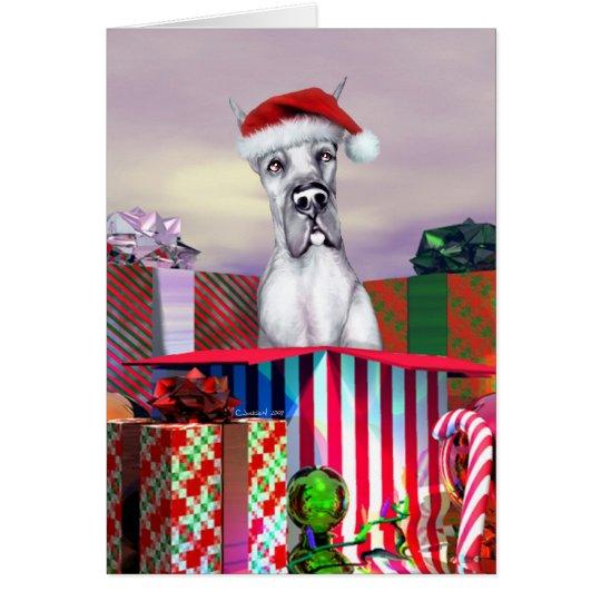 Great Dane Christmas Surprise Blue Card