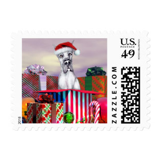Great Dane Christmas Surprise Blue Stamps