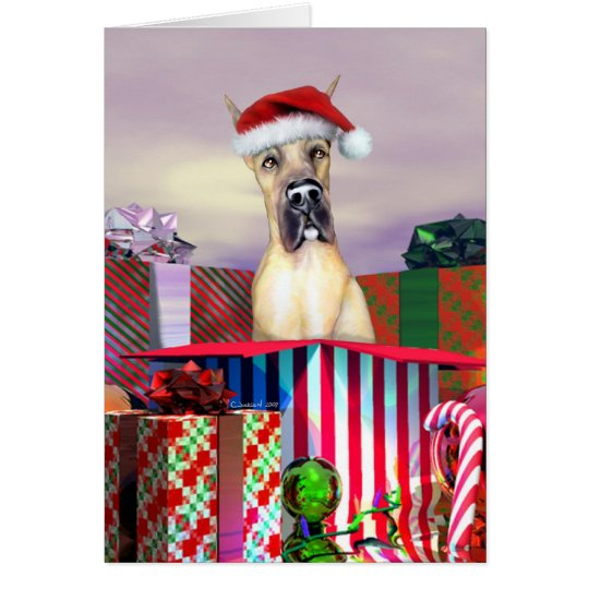 Great Dane Christmas Surprise Fawn Card