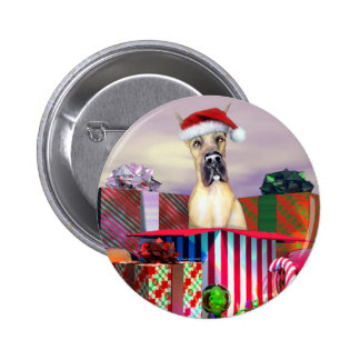 Great Dane Christmas Surprise Fawn Pinback Button