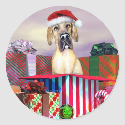 Great Dane Christmas Surprise Fawn UC Classic Round Sticker