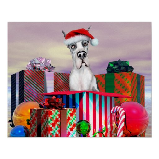 Great Dane Christmas Surprise Harle Poster
