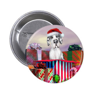 Great Dane Christmas Surprise Harle UC Pinback Button