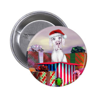 Great Dane Christmas Surprise White UC Pinback Button