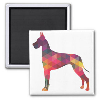 Great Dane Colorful Geometric Pattern Silhouette 2 Inch Square Magnet