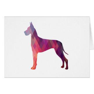 Great Dane Colorful Geometric Pattern Silhouette Card