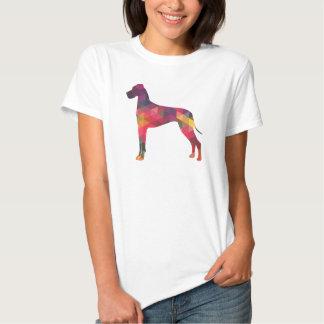 Great Dane Colorful Geometric Pattern Silhouette T-shirt