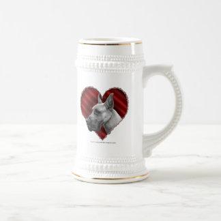 Great dane con el corazón tazas de café