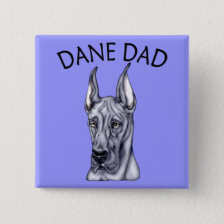 Great Dane Dad Blue Pinback Button