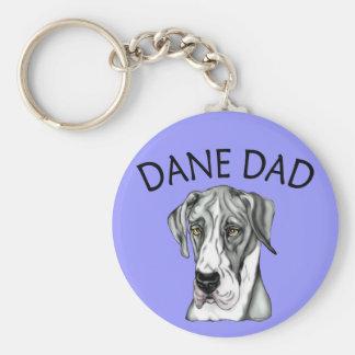 Great Dane Dad Mantle UC Basic Round Button Keychain