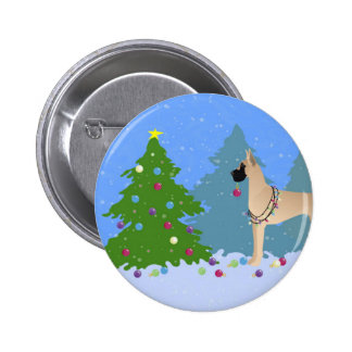 Great Dane Decorating a Christmas Tree in forest Pinback Button
