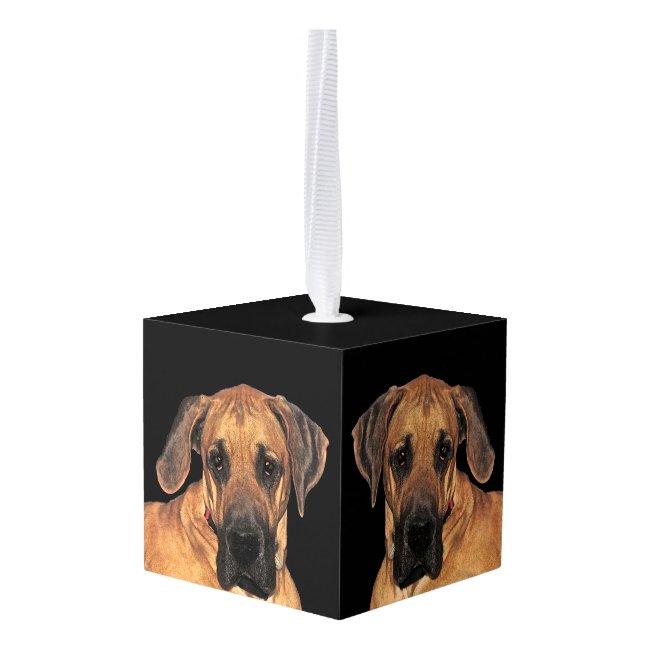 Great Dane Dog Animal Cube Ornament