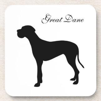 Great Dane dog black silhouette coaster