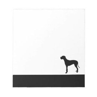 Great Dane dog black silhouette notepad