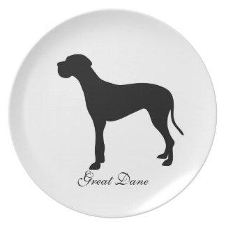 Great Dane dog black silhouette plate