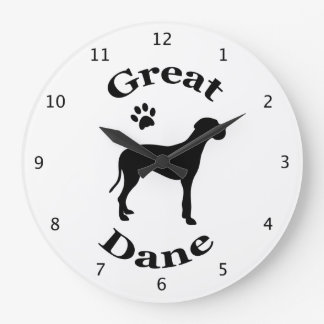 Great Dane dog black silhouette with paw print Clocks