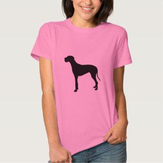 Great Dane dog black silhouette women's t-shirt