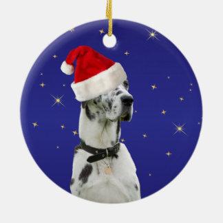 Great Dane dog christmas holiday ornament