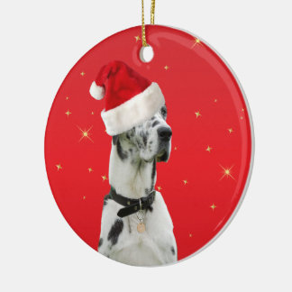 Great Dane dog christmas holiday ornament red
