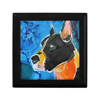 Great Dane Dog Colorful Alcohol Ink Painting Jewelry Box