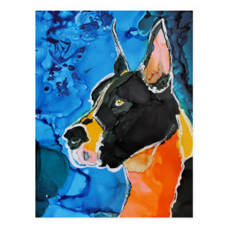 Great Dane Dog Colorful Alcohol Ink Painting Postcard