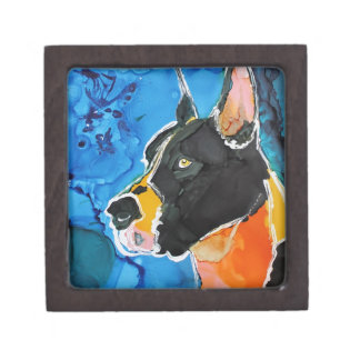 Great Dane Dog Colorful Alcohol Ink Painting Premium Trinket Boxes