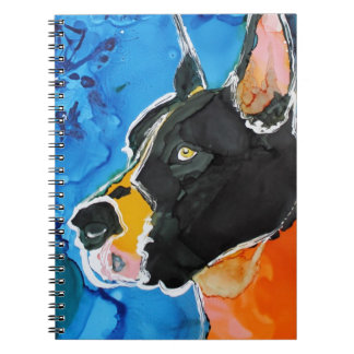 Great Dane Dog Colorful Alcohol Ink Painting Spiral Note Books