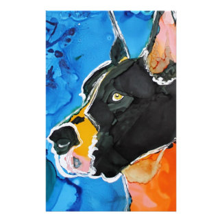 Great Dane Dog Colorful Alcohol Ink Painting Stationery Design