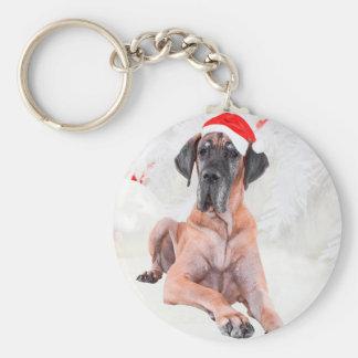 Great Dane Dog Hat Merry Christmas Keychain