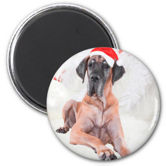 Great Dane Dog Hat Merry Christmas Magnet