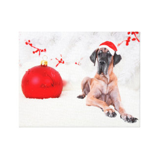 Great Dane Dog Hat Merry Christmas Red Ornament Canvas Print