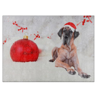 Great Dane Dog Hat Merry Christmas Red Ornament Cutting Board