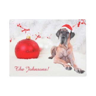 Great Dane Dog Hat Merry Christmas Red Ornament Doormat