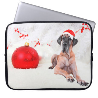 Great Dane Dog Hat Merry Christmas Red Ornament Laptop Sleeve