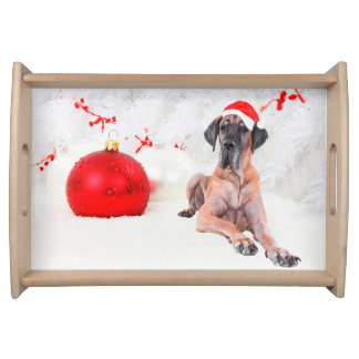Great Dane Dog Hat Merry Christmas Red Ornament Serving Tray