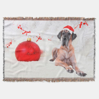 Great Dane Dog Hat Merry Christmas Red Ornament Throw