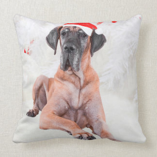 Great Dane Dog Hat Merry Christmas Throw Pillow