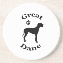 great dane dog pawprint silhouette coaster