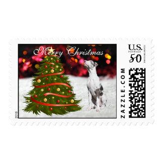 Great Dane dog puppy snow tree custom Christmas Postage